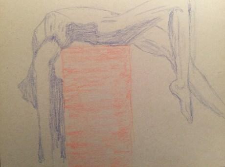 Blue woman arched over orange box