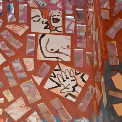 red mirror mosaic