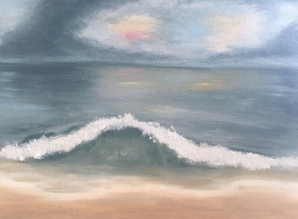Beach scene with dark skies