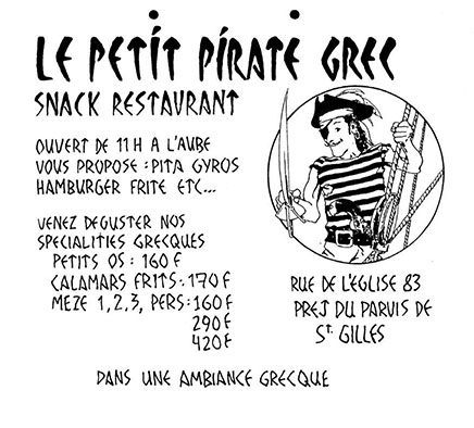 Ad for Le Petite Pirate by James Romberger