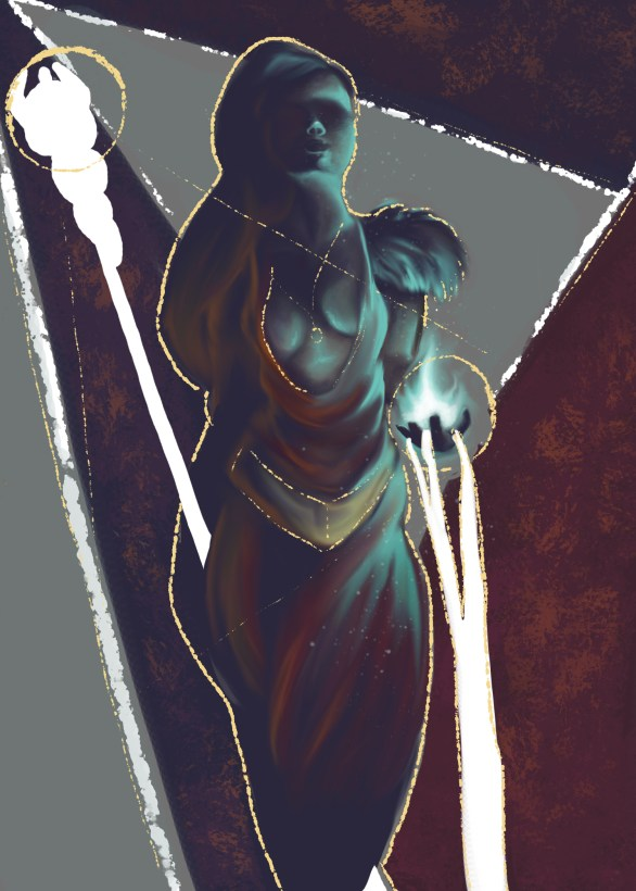 digital painting of a mythical figure with shapes and solid colors as the background