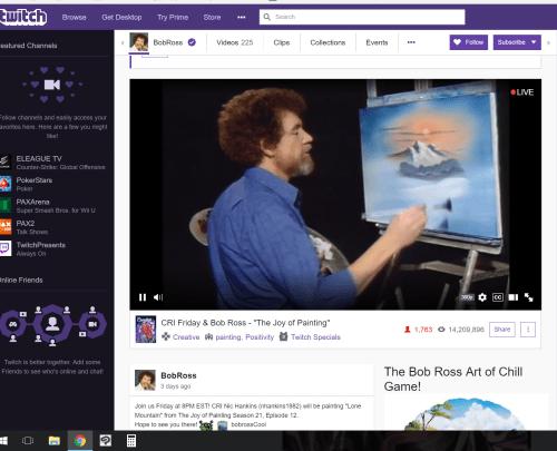 screenshot of bob ross on twitch