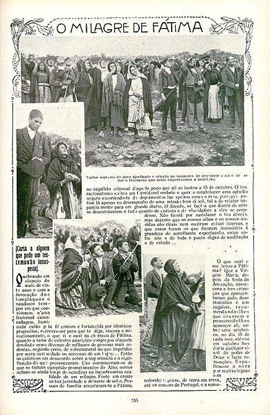 A page from Ilustração Portuguesa, October 29, 1917, showing the crowd looking at the miracle of the sun