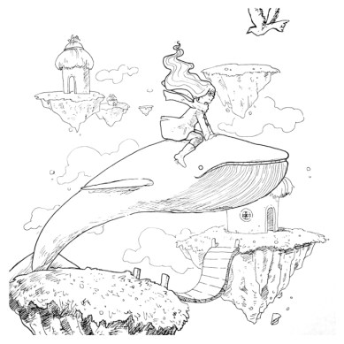 girl riding a whale drawing