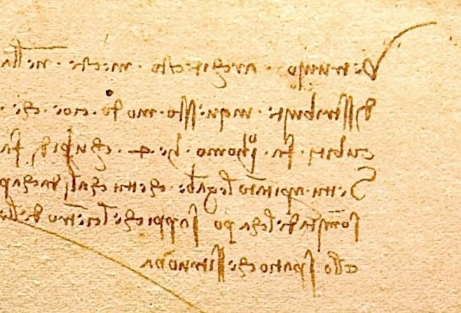 Da Vinci, Mirror writing