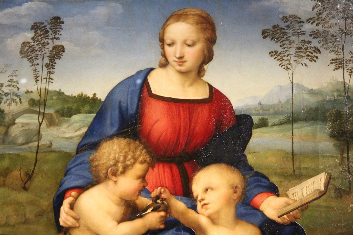 close up of Madonna of the Goldfinch