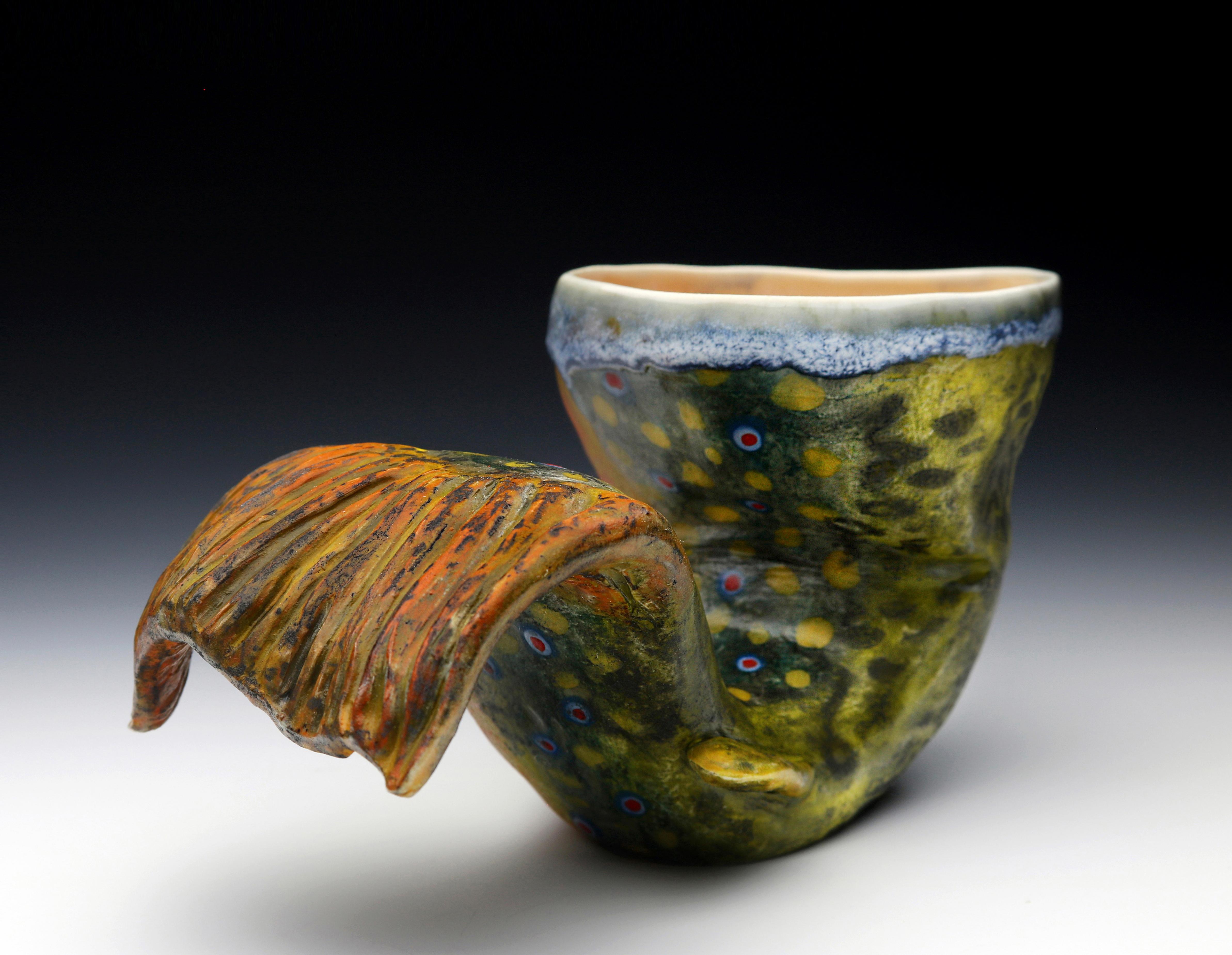 """""""Trout Tail Cup"""" Porcelain 4.5"""" x 7.5"""" x 4.5"""
