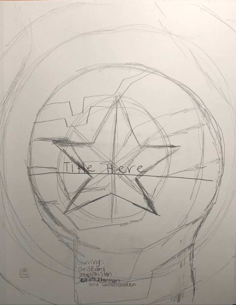 Drawing of Captain America's Shield and the Winter Soldier Arm