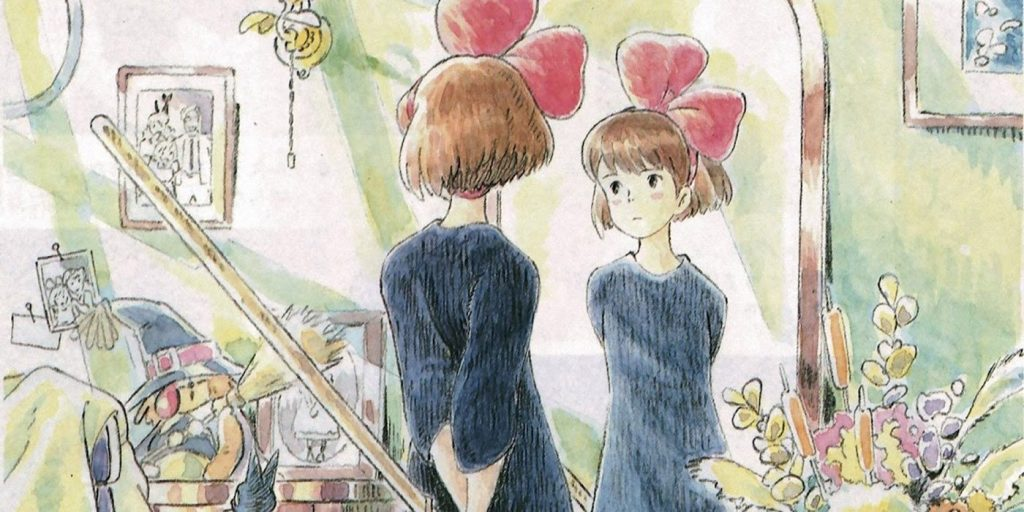 concept art with kiki looking in a mirror