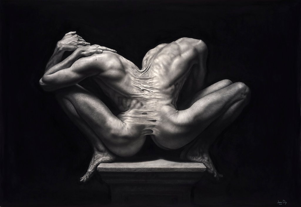 This work displays two figures placed back to back on a pillar. The work is done in graphite so it is monochramatic with a emphasis on shadows and highlight. There is prominence of abdominal, leg and back muscles.