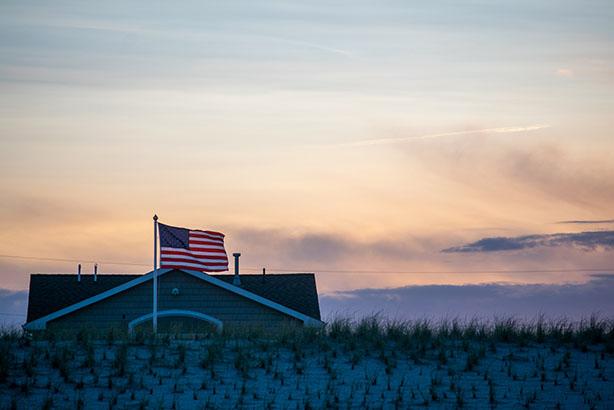 American Flag Sunset HDR