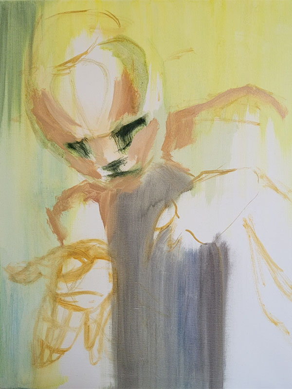Tumnus Moran Painting for Sculpture Progress 3