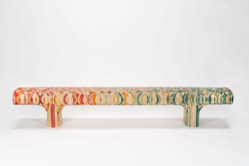 Raw-Edges, Endgrain bench, 2015, Carnegie Museum of Art