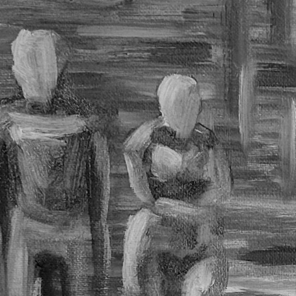 Tumnus Moran Underpainting Green figures in Cave Featured