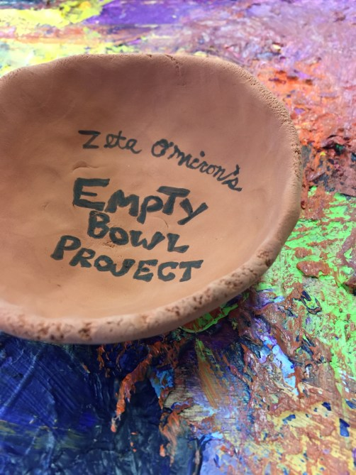 small air dry clay bowl to promote Empty Bowls