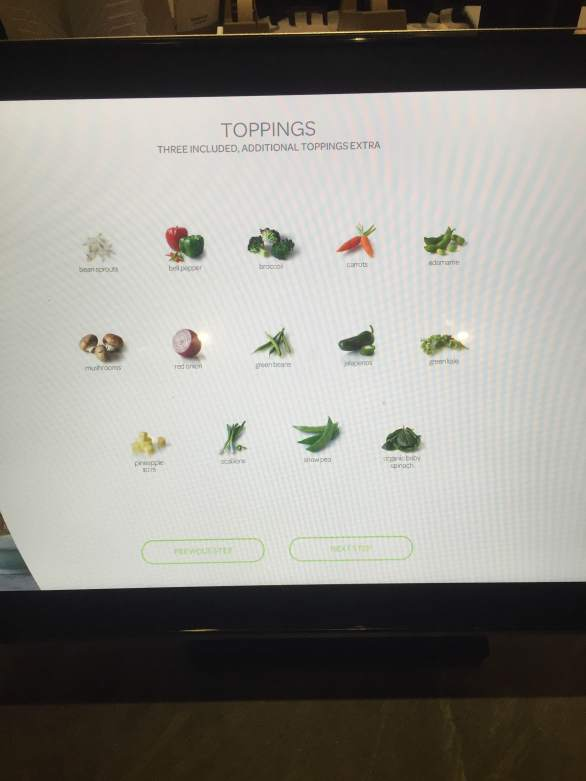 Choose your Toppings Screen