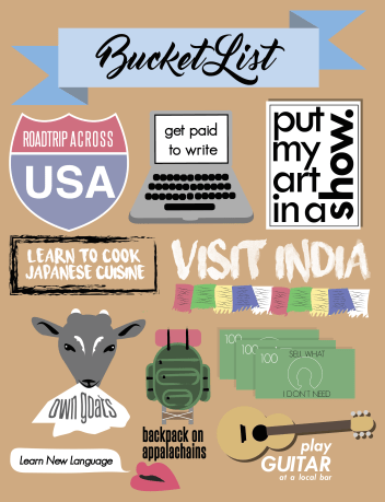 bucket list, graphic design, visual, list