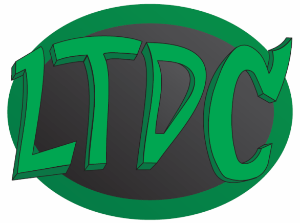 Black circle logo with bold green letters LTDC