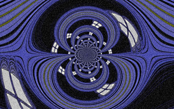 Artwork. Purple spirals on a black background with window shapes