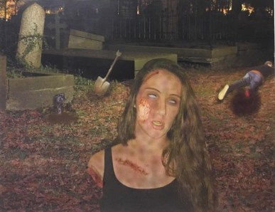 Photo manipulation. Gabbi as a zombie in a graveyard