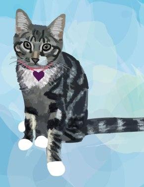 grey cat cartoon