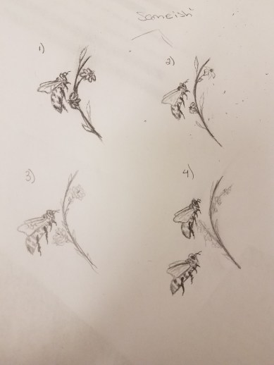 Bee and flower sketch