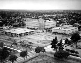 Photo circa 1968 from the Orange County Register archives.  The Orange county Jail sits at the corner of N. Flower St. and W. 6th St. in Santa Ana.
