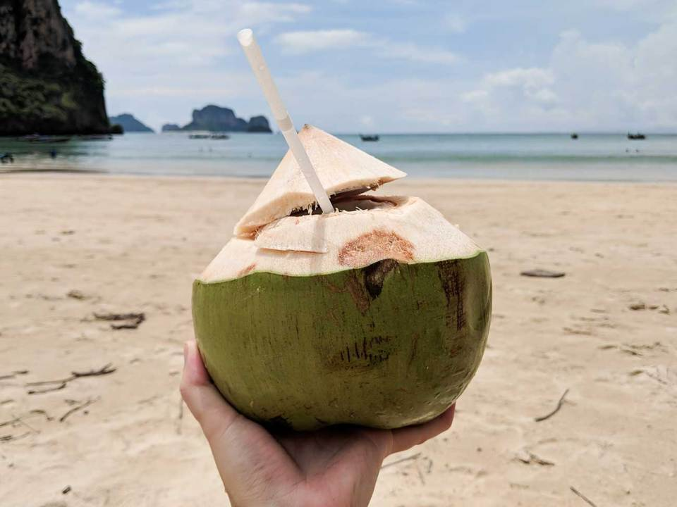 A coconut drink is a must have on Thailand beaches