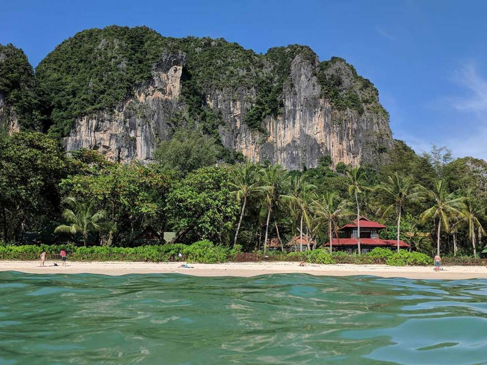 Thailand Beaches: West Railay beach from the water