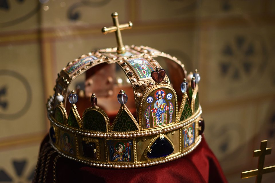 Crown on display in Matthias Church in Budapest