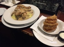 Chicken stew with mashed potatoes & onion rings - CRYING