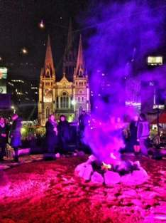 bonfire with st pauls cathdral melbourne