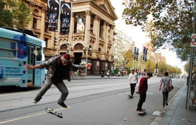 Skateboarders on Flinders Street