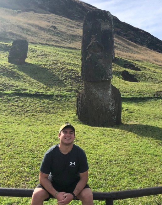 Me sitting in front of a Moai on Easter Island