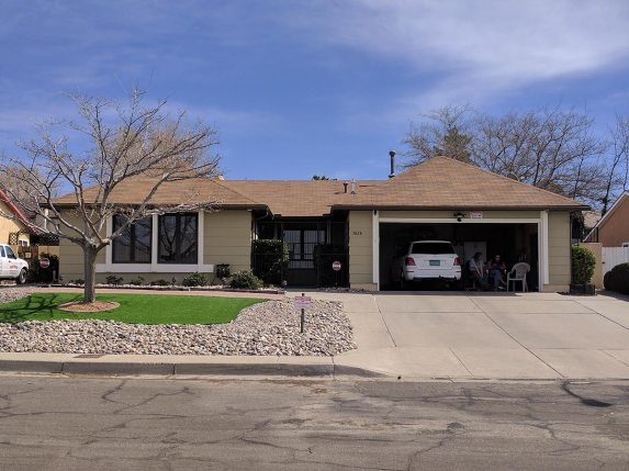 Breaking Bad, Walt's house (the lady that lives there stays in the garage and tells people to f*** off...)