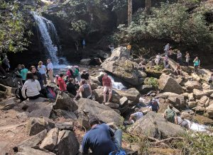 Grotto Falls, the crowd