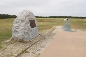 This stone marks the location the first powered plane took off, the stones ahead are the four different landings