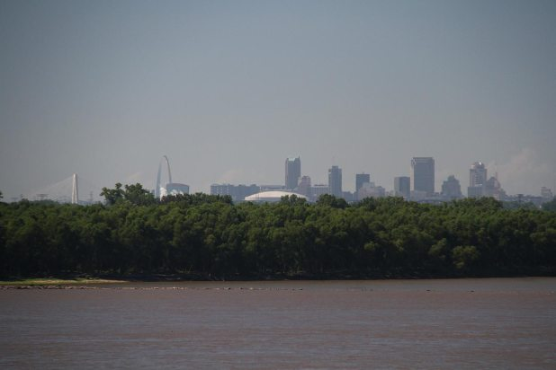 St Louis skyline, the Gateway Arch is on the left