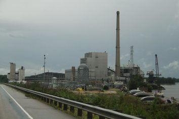 One of the many coal plants in the area