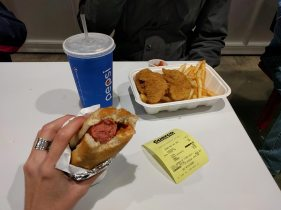 Tradition before a Canucks game: hot dog at Costco