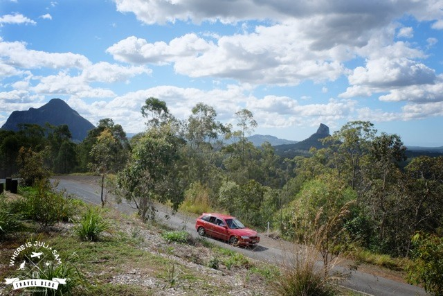 Glass House Mountains & car