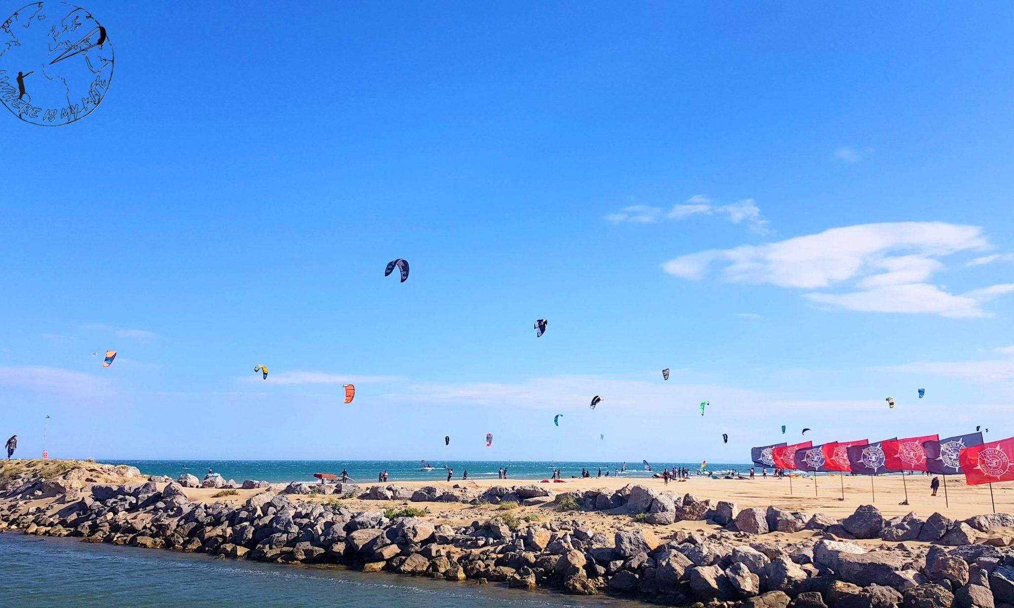 Défi kite à Gruissan France spot de kite, compétition de kitesurf