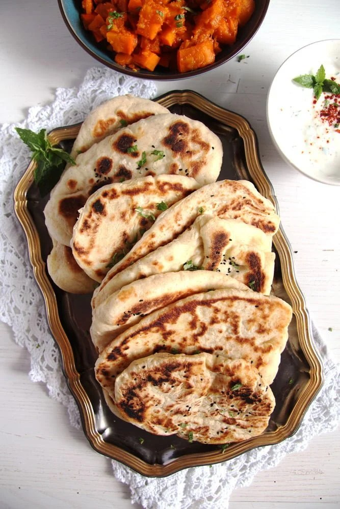 IMG 8076 Soft Afghan Naan Bread with Yogurt and Nigella Seeds