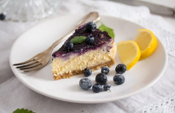 blueberry cheesecake 7 Baked Blueberry Cheesecake with Lemon Curd
