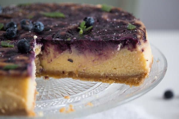 blueberry cheesecake 9 Baked Blueberry Cheesecake with Lemon Curd