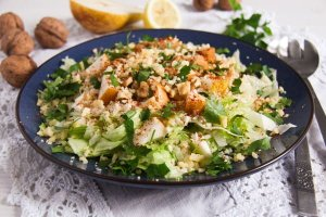 %name Autumn Pear, Celeriac and Walnut Salad with Cheese