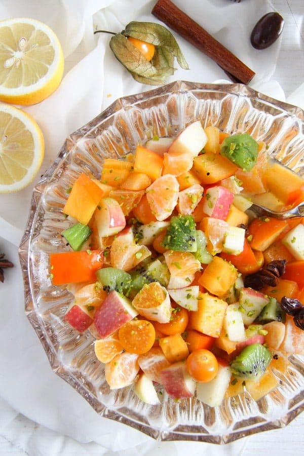 fruit salad 1 Winter Fruit Salad with Cinnamon Star Anise Dressing