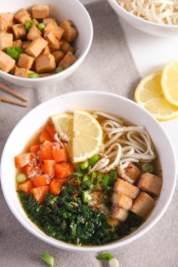 tofu noodles soup 1 Soba Noodles Tofu Soup with Limes, Carrots and Kale