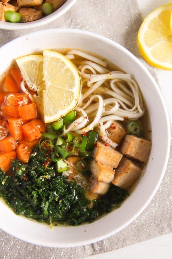 tofu noodles soup 3 Soba Noodles Tofu Soup with Limes, Carrots and Kale