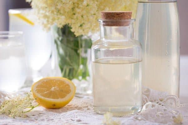 bottle of elderflower cordial